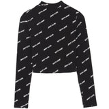 T-shirt crop top all-over logo noir