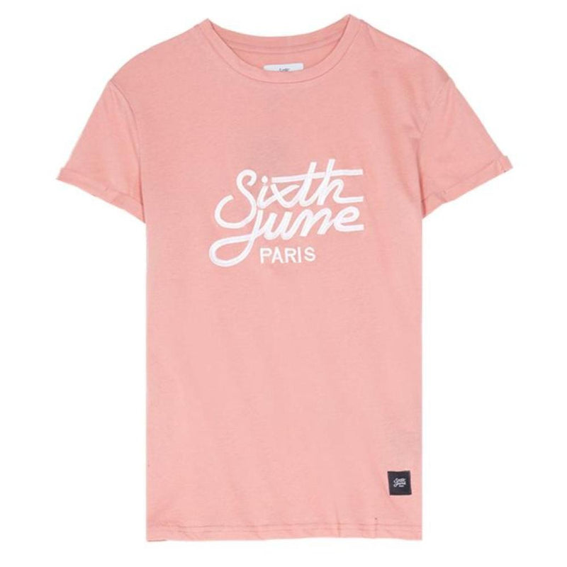 T-shirt brodé logo SIxth June rose
