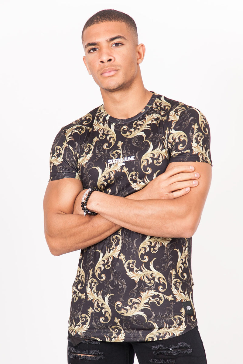 T-Shirt baroque all-over noir or