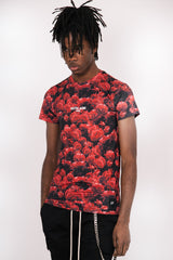 T-Shirt all-over roses noir rouge