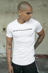 T-shirt moulant logo racing blanc
