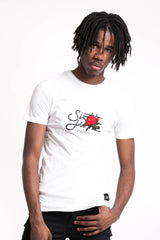 T-shirt grand logo patch rose blanc