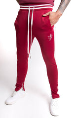 Jogging  bandes satin signature bordeaux