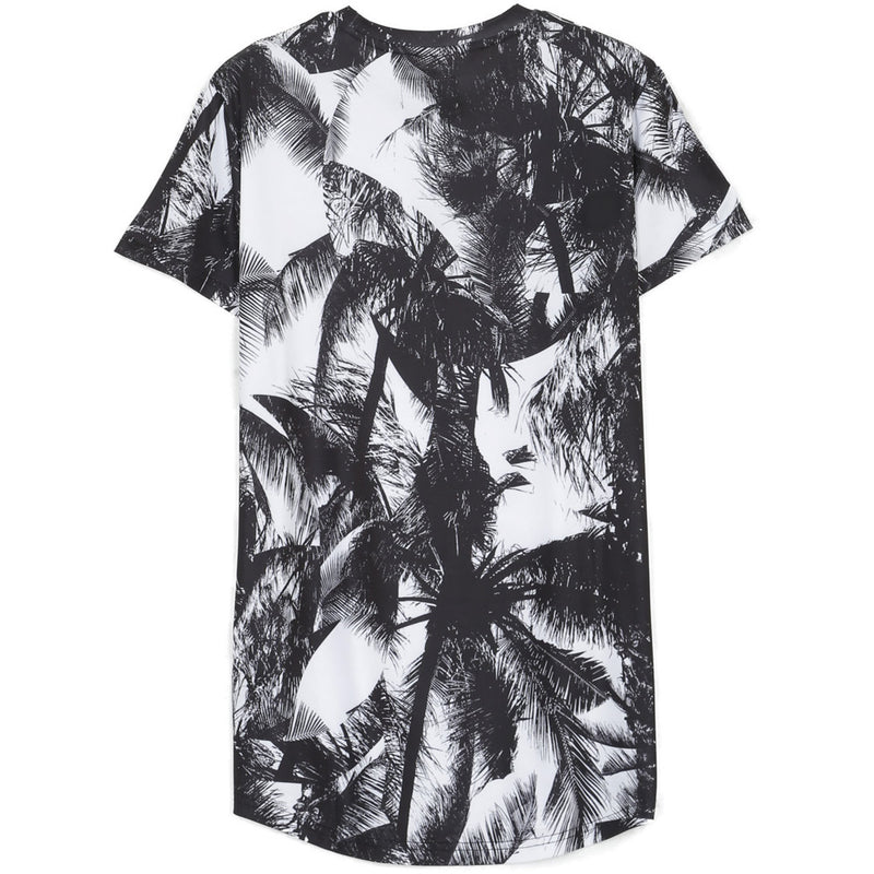 T-Shirt all-over palmiers noir blanc