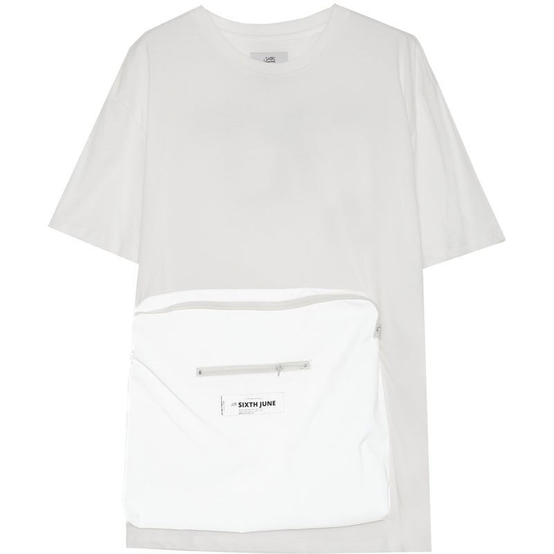 Large Pocket Reflective T-Shirt White
