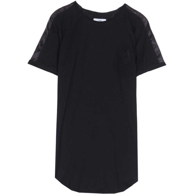 T-shirt bandes satin signature noir