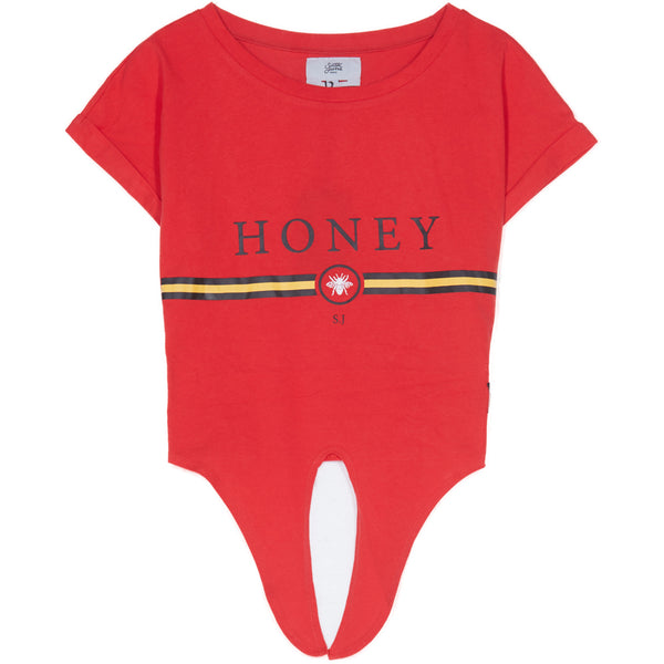 T-shirt Honey bande noeud rouge