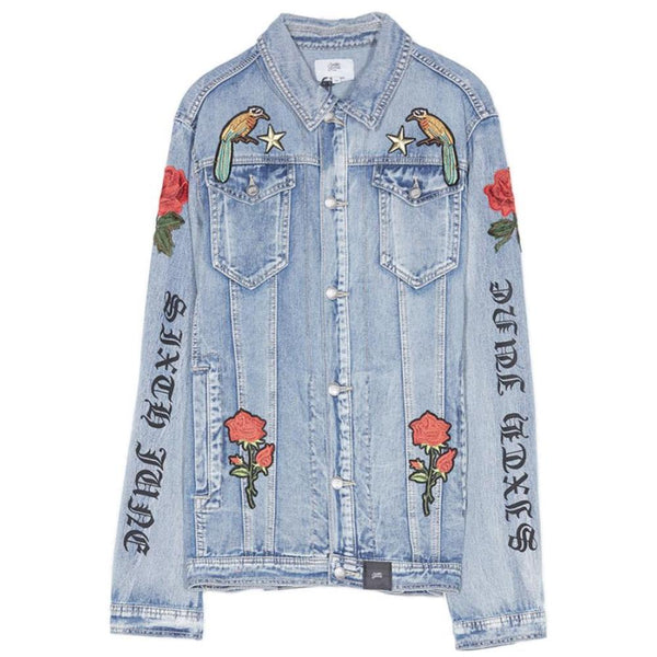 denim jacket with flower patch