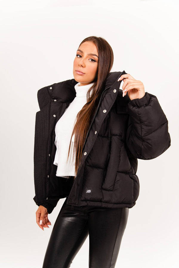 Padded cropped down jacket black