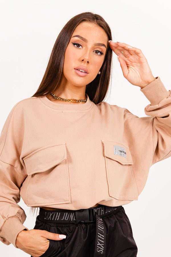 Logo patch sweatshirt beige