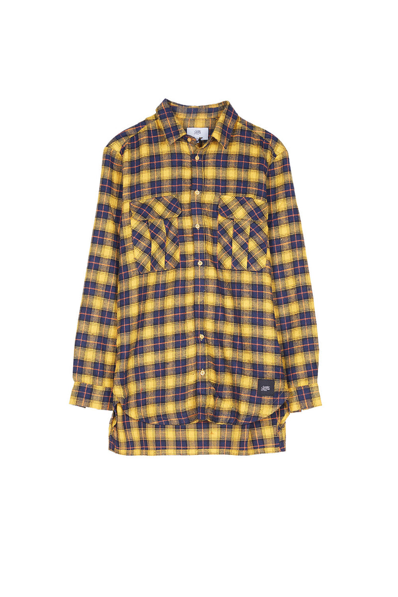 Chemise flannelle poches Sixth June jaune