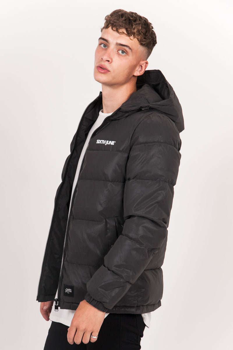 Logo Reflective Puffer Jacket Black