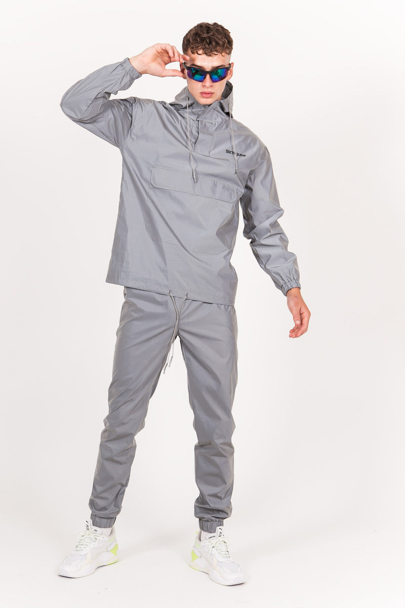 Logo Reflective Windbreaker Light Grey