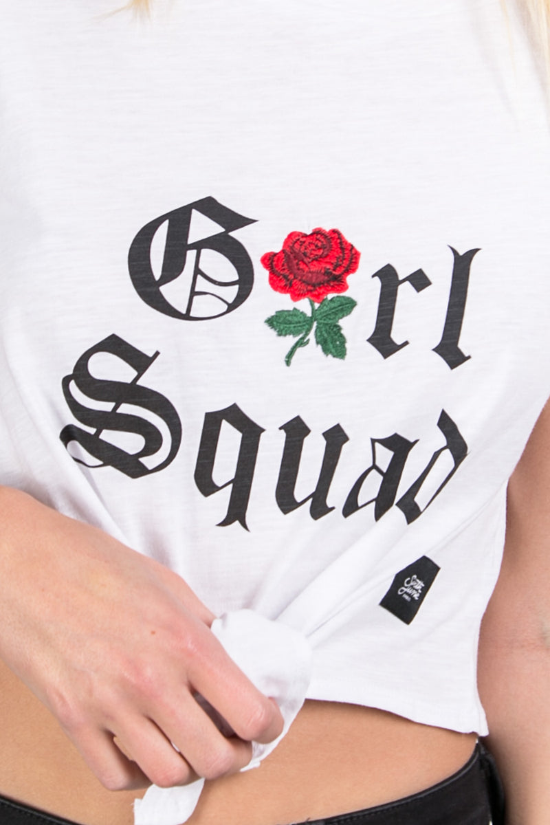 T-shirt noeud Girl squad blanc