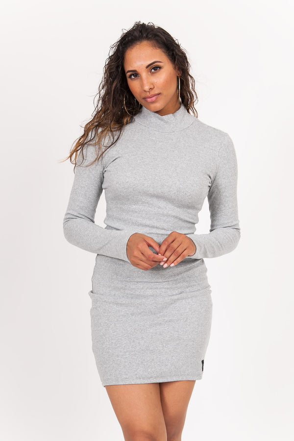 Robe manches longues logo gris