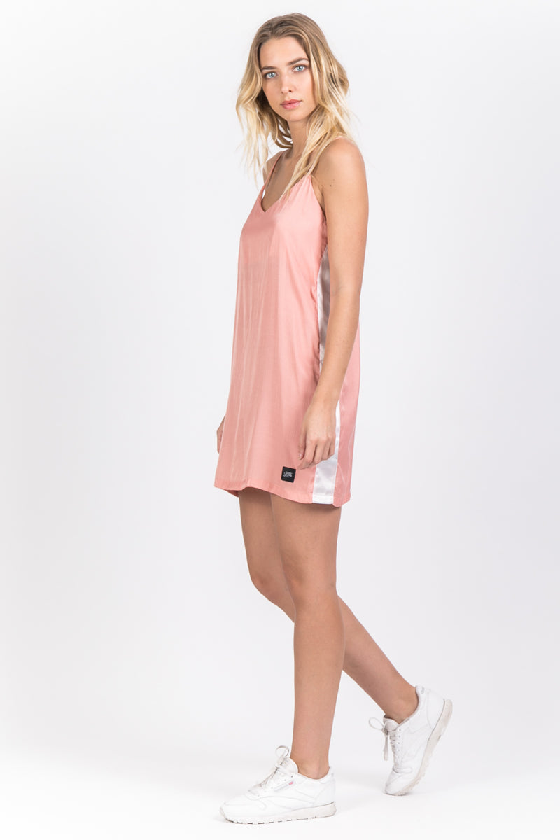 Robe bandes satin rose
