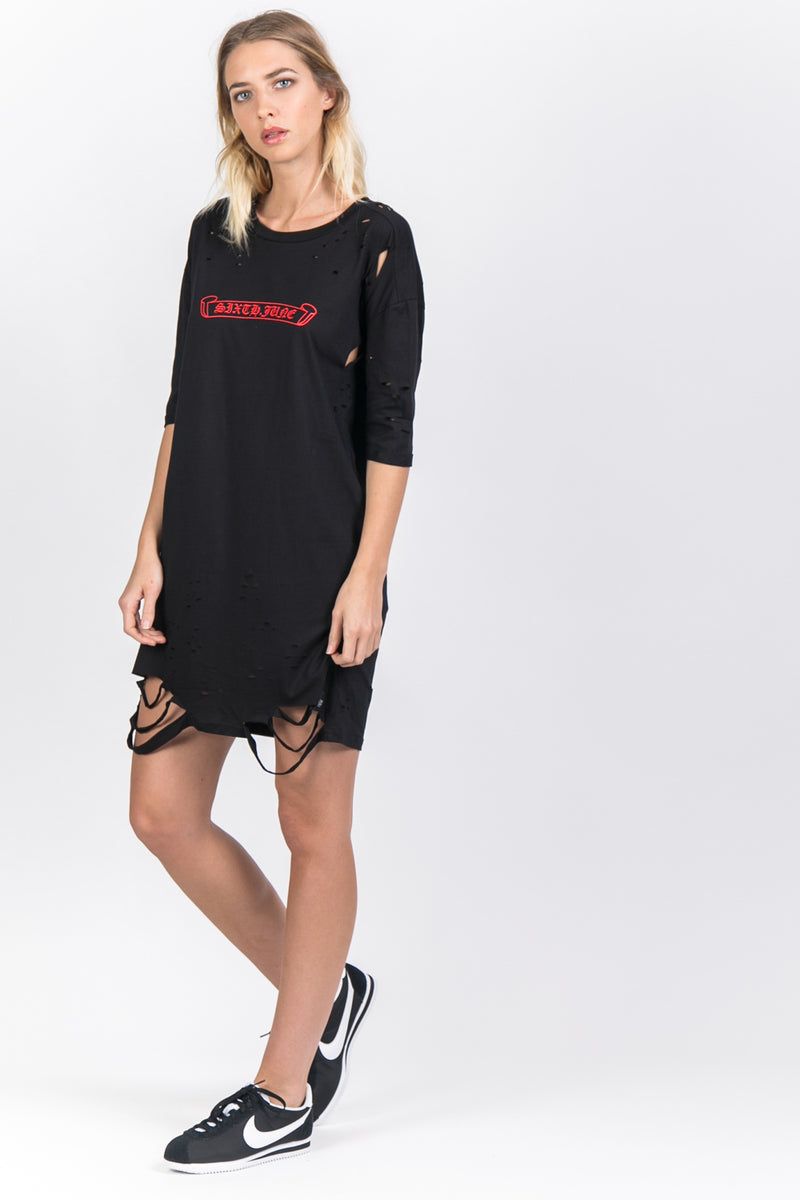 Robe t-shirt destroy logo noir