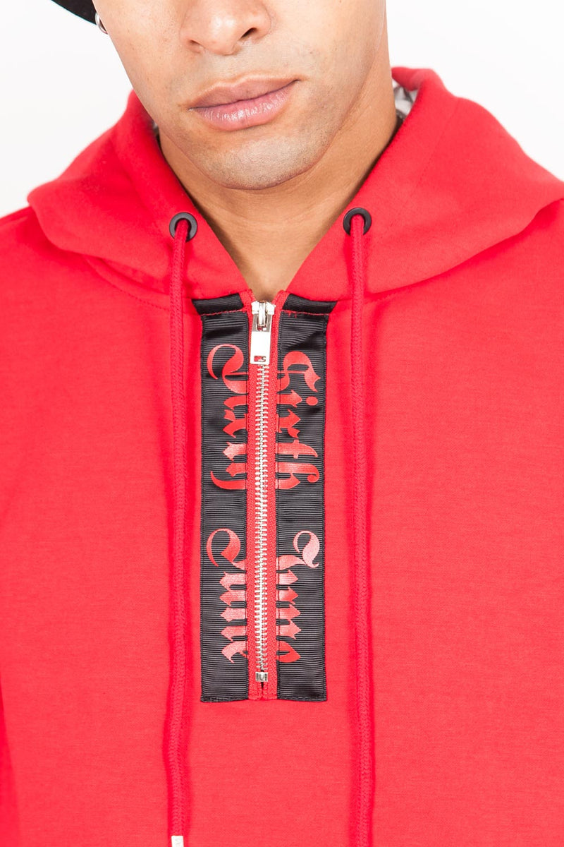 Sweat capuche aluminium gothique rouge