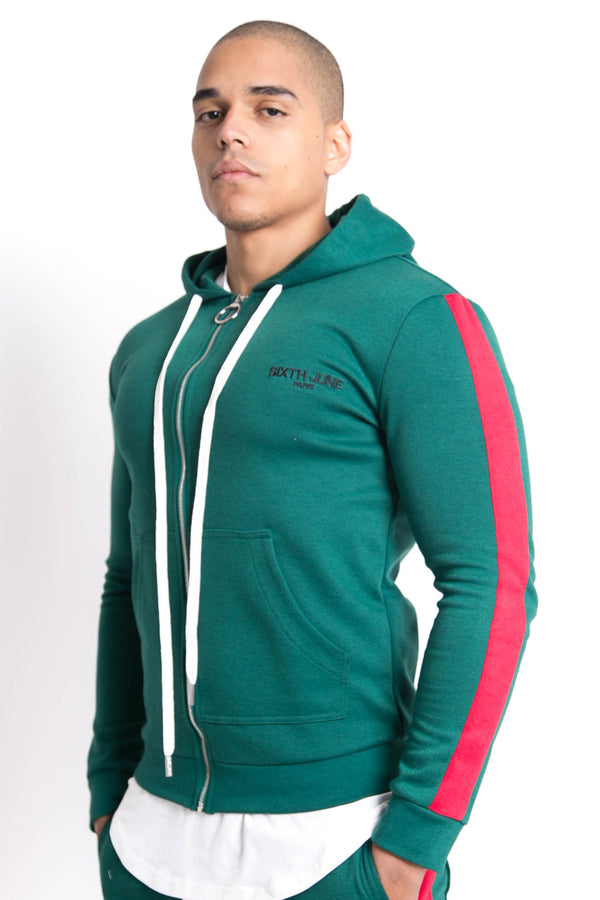 Sweat capuche bandes Sixth June vert rouge