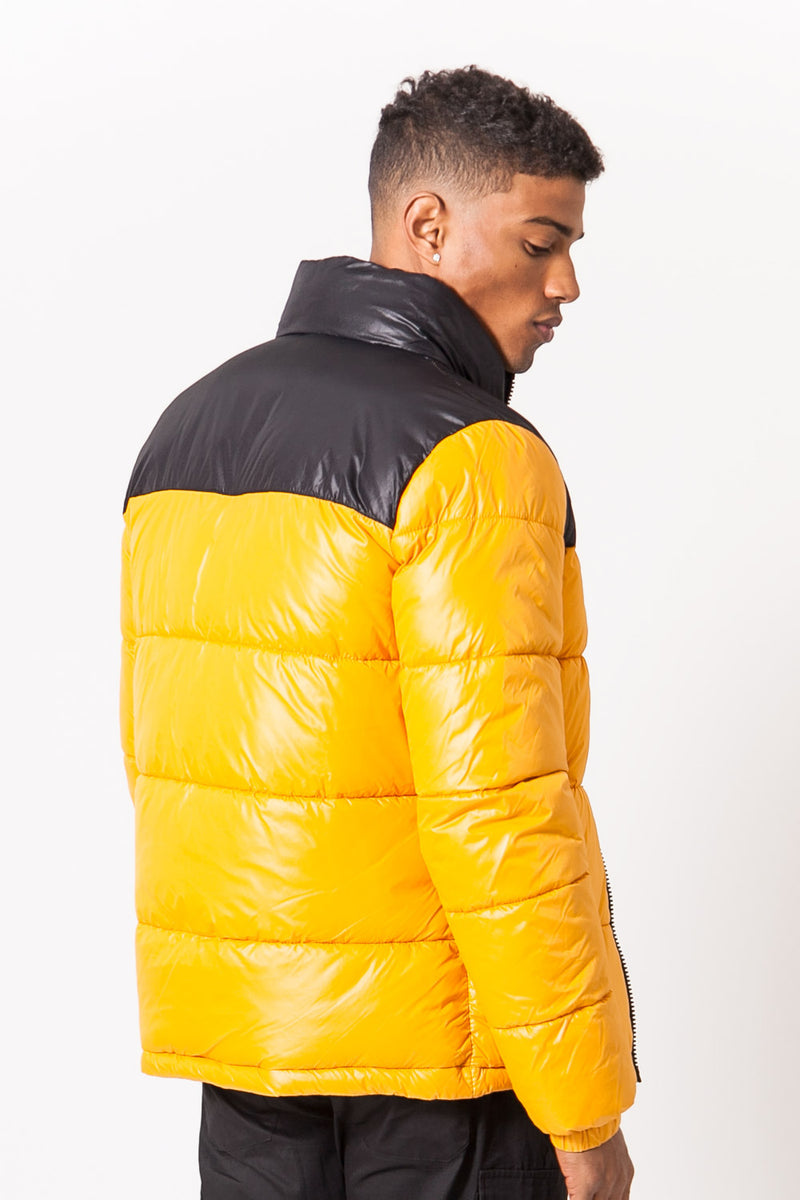 Shiny Bicolor Puffer Jacket Yellow Black