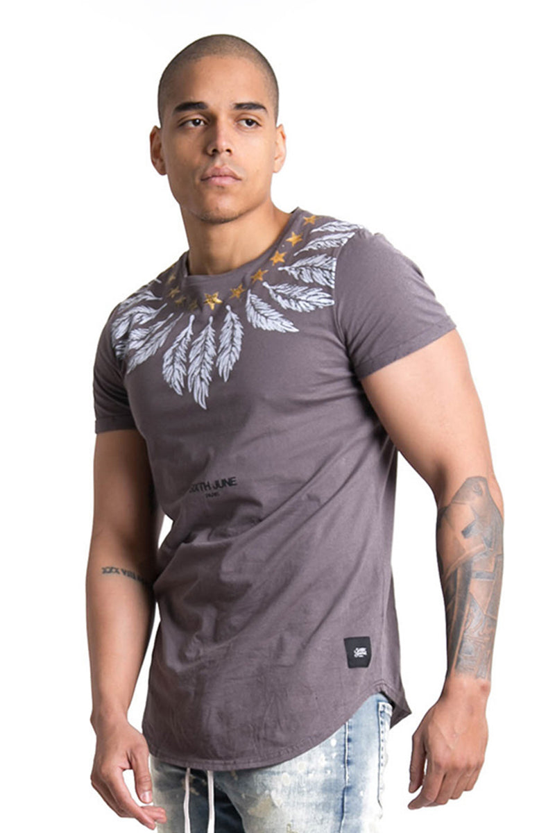 Stars Feather Collar T-Shirt Grey