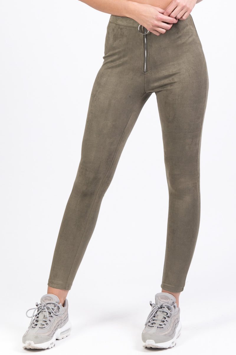 Legging suédine zip Sixth June kaki