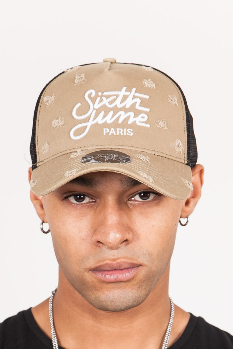 Casquette destroy Sixth June mesh beige