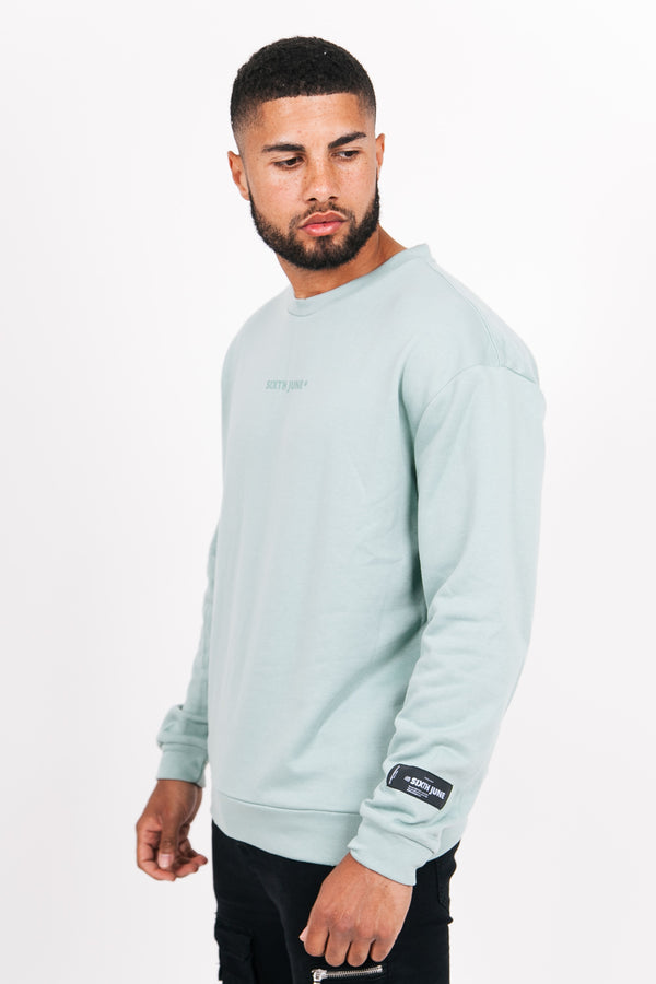Sweat col rond logo turquoise