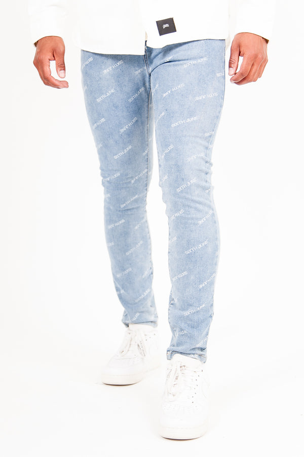 Jean all over logo bleu