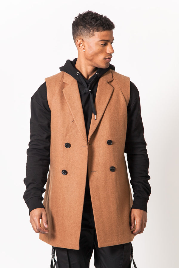 Manteau sans manches marron