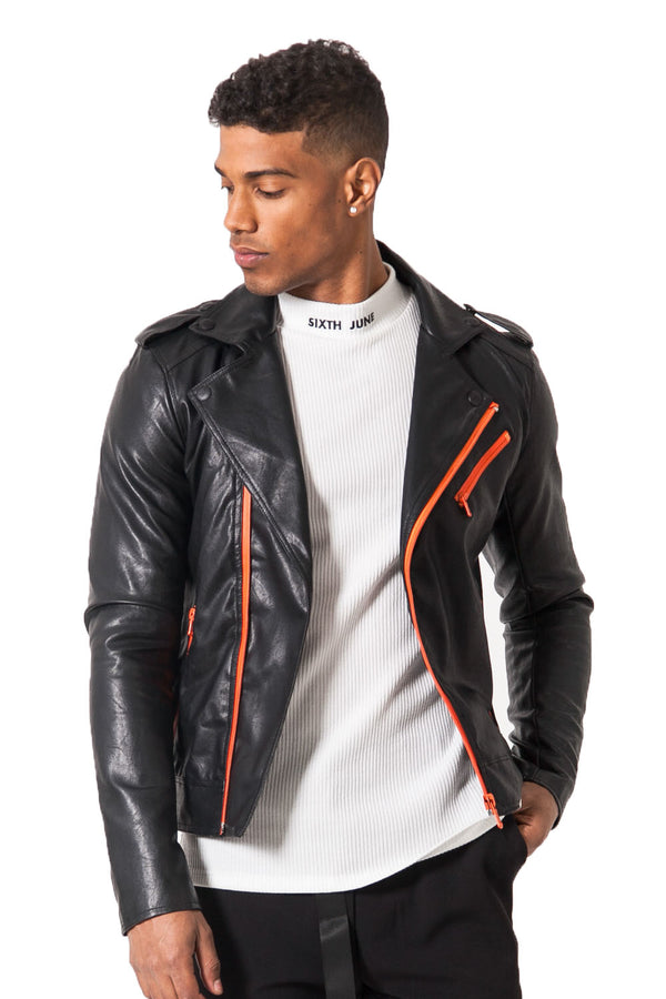 Veste perfecto noir orange