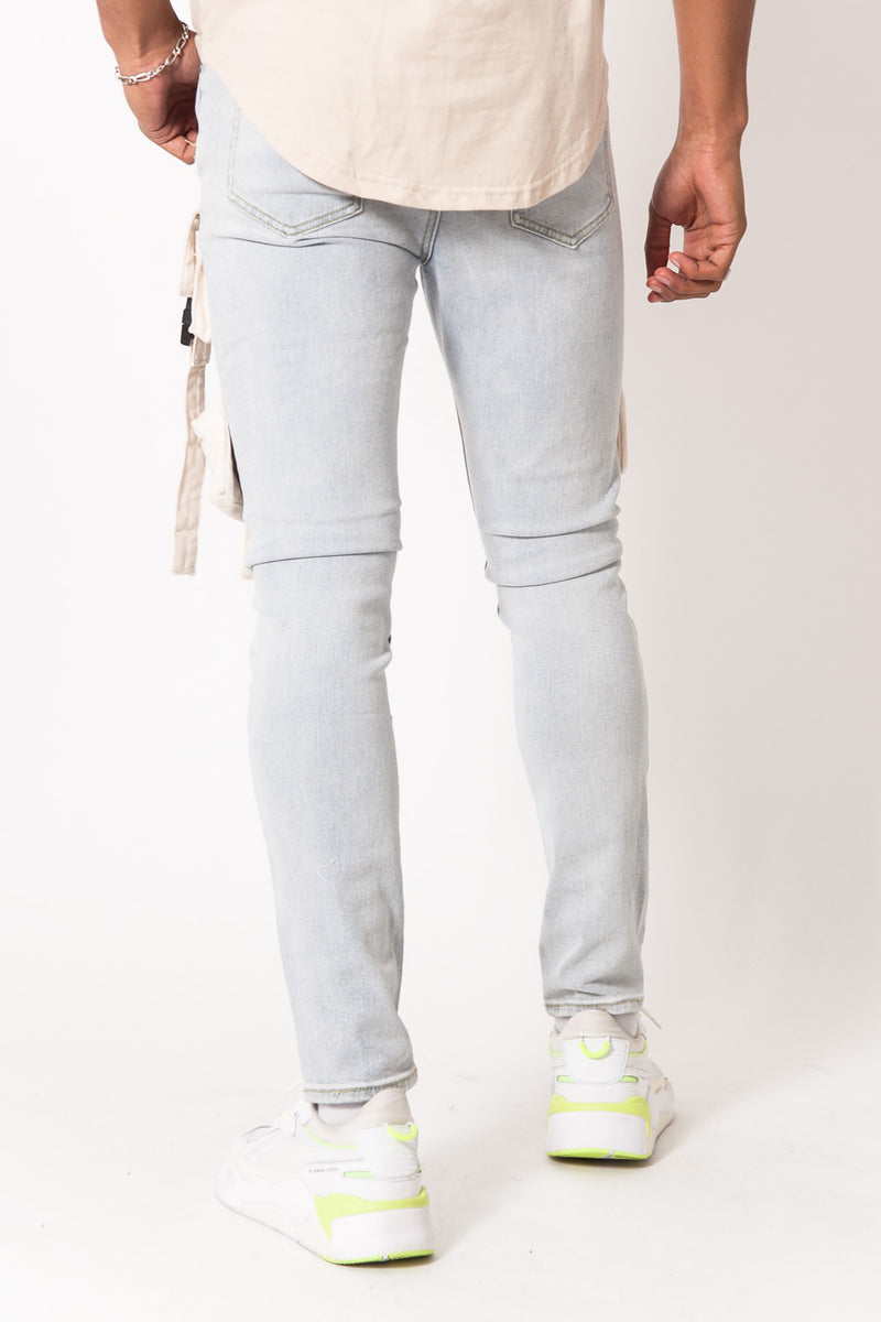 Buckle Tactical Pocket Jeans Blue