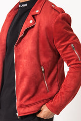 Jacket perfecto suede red