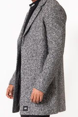 Manteau long laine gris chiné