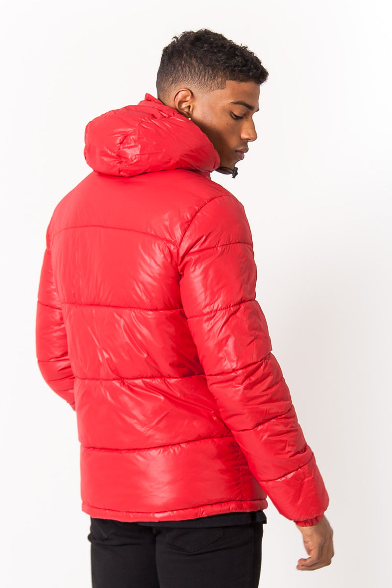 Logo Shiny Puffer Jacket Red