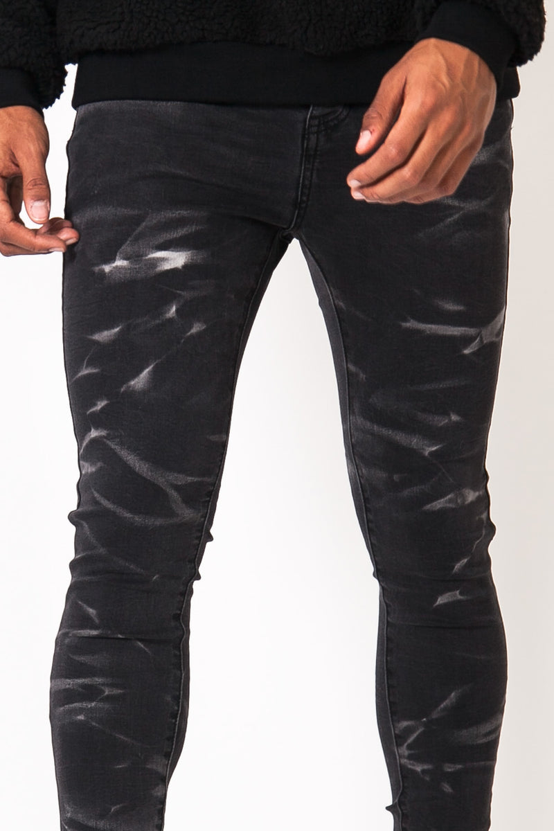 Stonewashed Waves Jeans Dark Grey