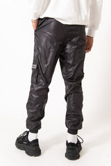 Pantalon jogging brillant zip noir