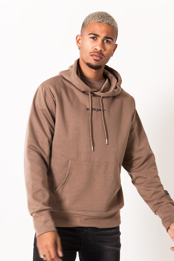 Sweat capuche imprimé marron