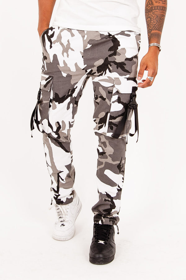 camouflage straps pants black
