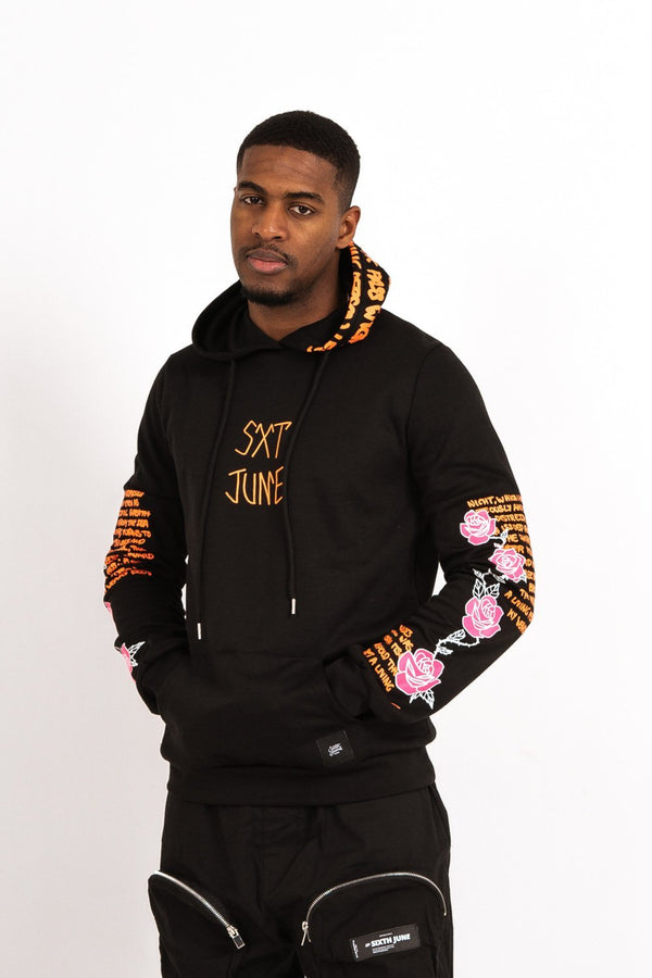 Skull Print Hoodie Black Orange