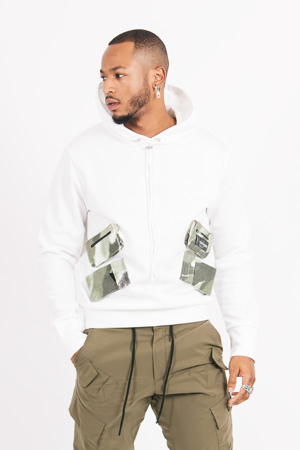 Moutain pocket hoodie white