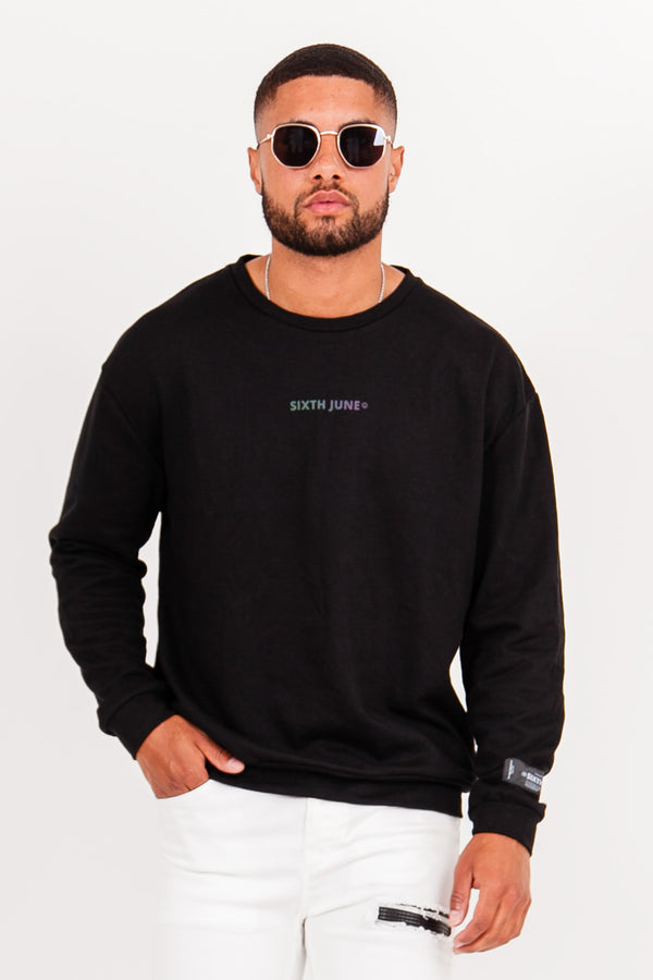 Sweat col rond logo noir