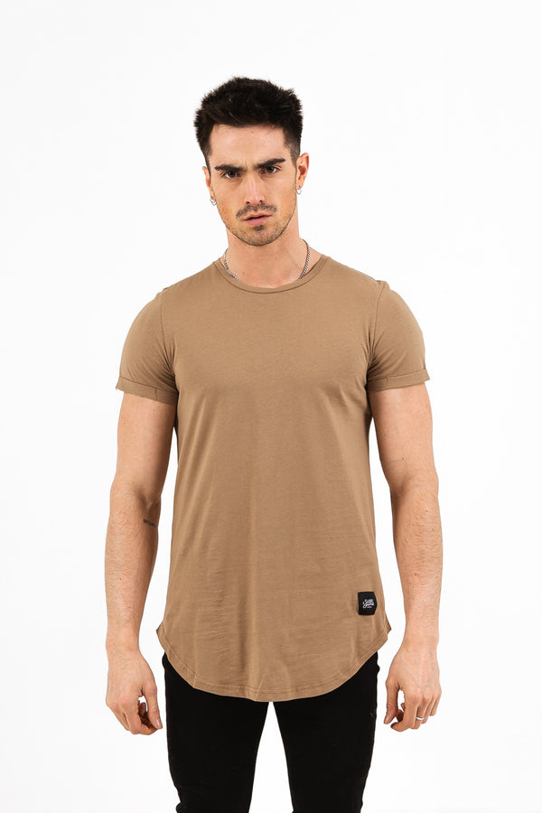 rounded corners t-shirt beige