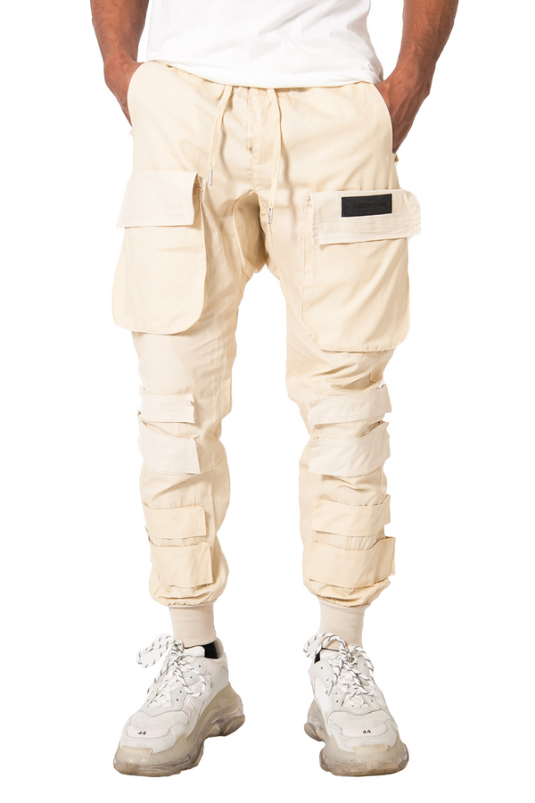 Pantalon cargo tactique large beige