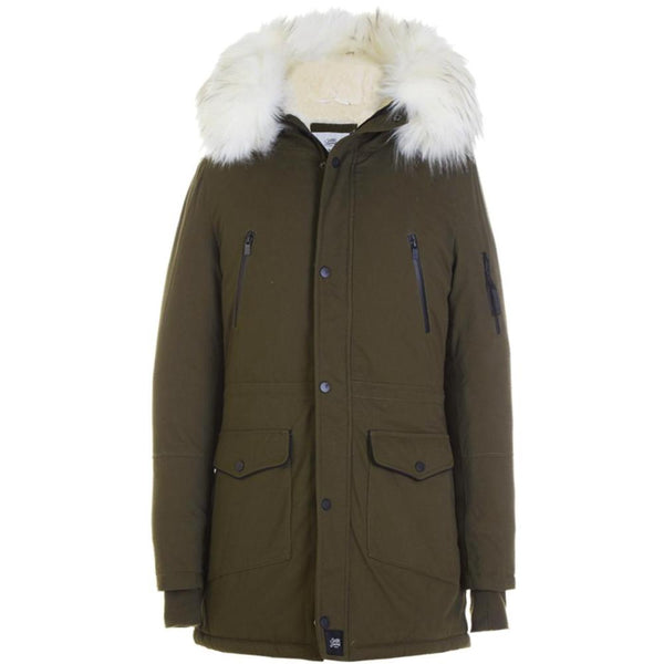 Parka capuche large fourrure Sixth June kaki blanc