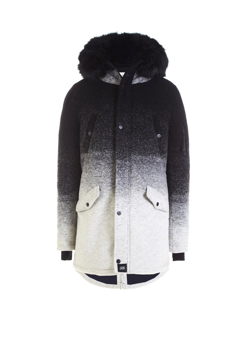 Parka laine tie and dye large fourrure Sixth June noir gris