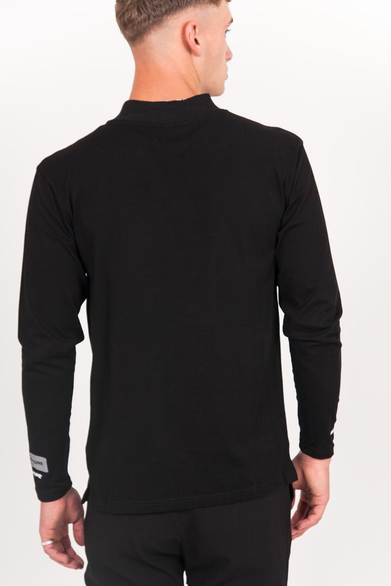 Logo High Collar T-Shirt Black
