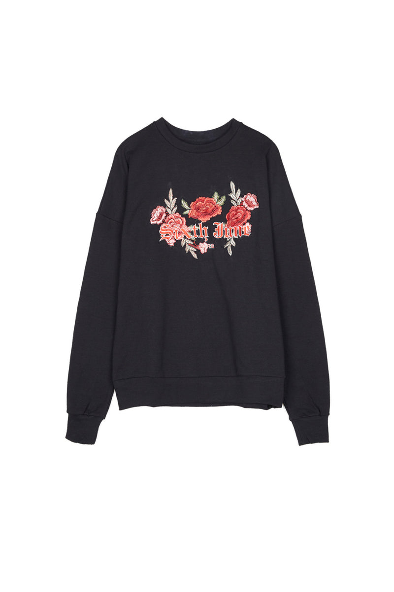 Sweatshirt brodé roses Sixth June noir