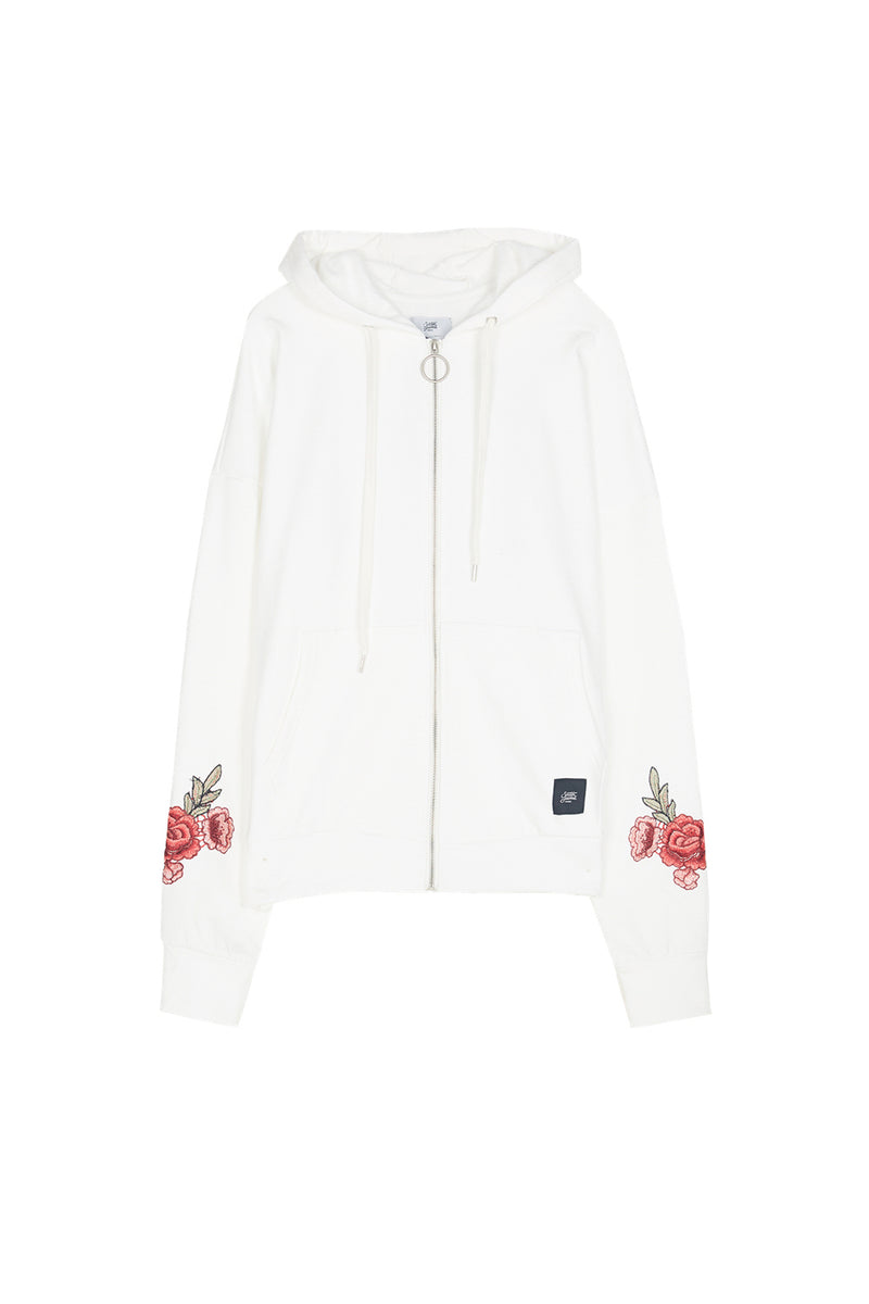 Sweat capuche brodé roses Sixth June blanc