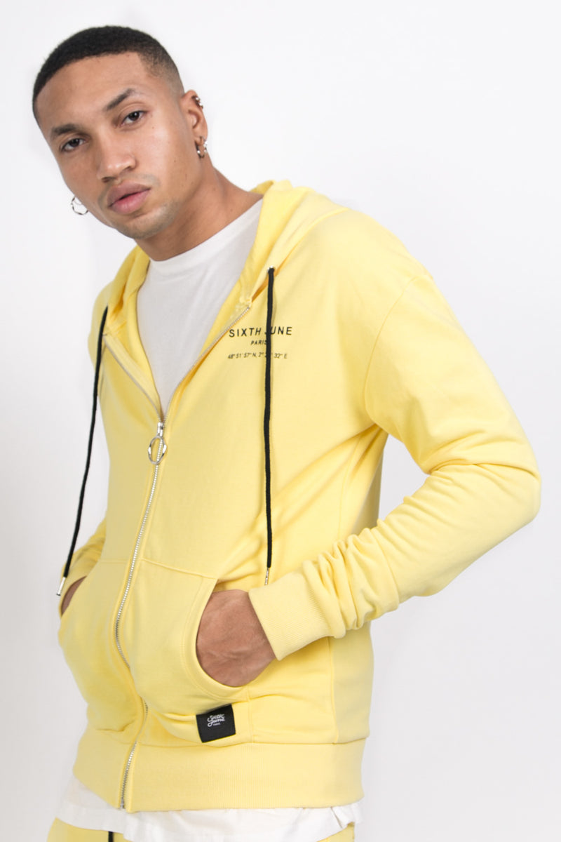 Sweat capuche Paris GPS zippé jaune
